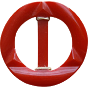 1940s Vintage Carved Red Bakelite Belt Slide / Buckle Notion