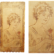 Antique Pyrography Trinket Box Beautiful Edwardian Lady 1913