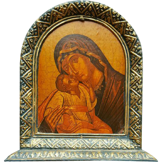 Vintage Personal Icon Madonna and Christ Child Florentine 1970s