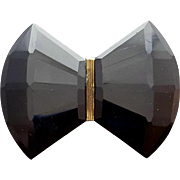 1930s Faceted Black Glass Belt Buckle Czechoslovakia