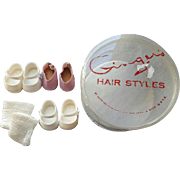 Vintage Cosmopolitan Ginger Doll Shoes in Ginger Hair Styles Box