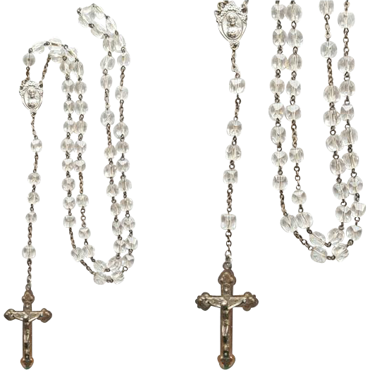 Vintage 1950s - 1960s Rosary Cube Cut Crystals Italy