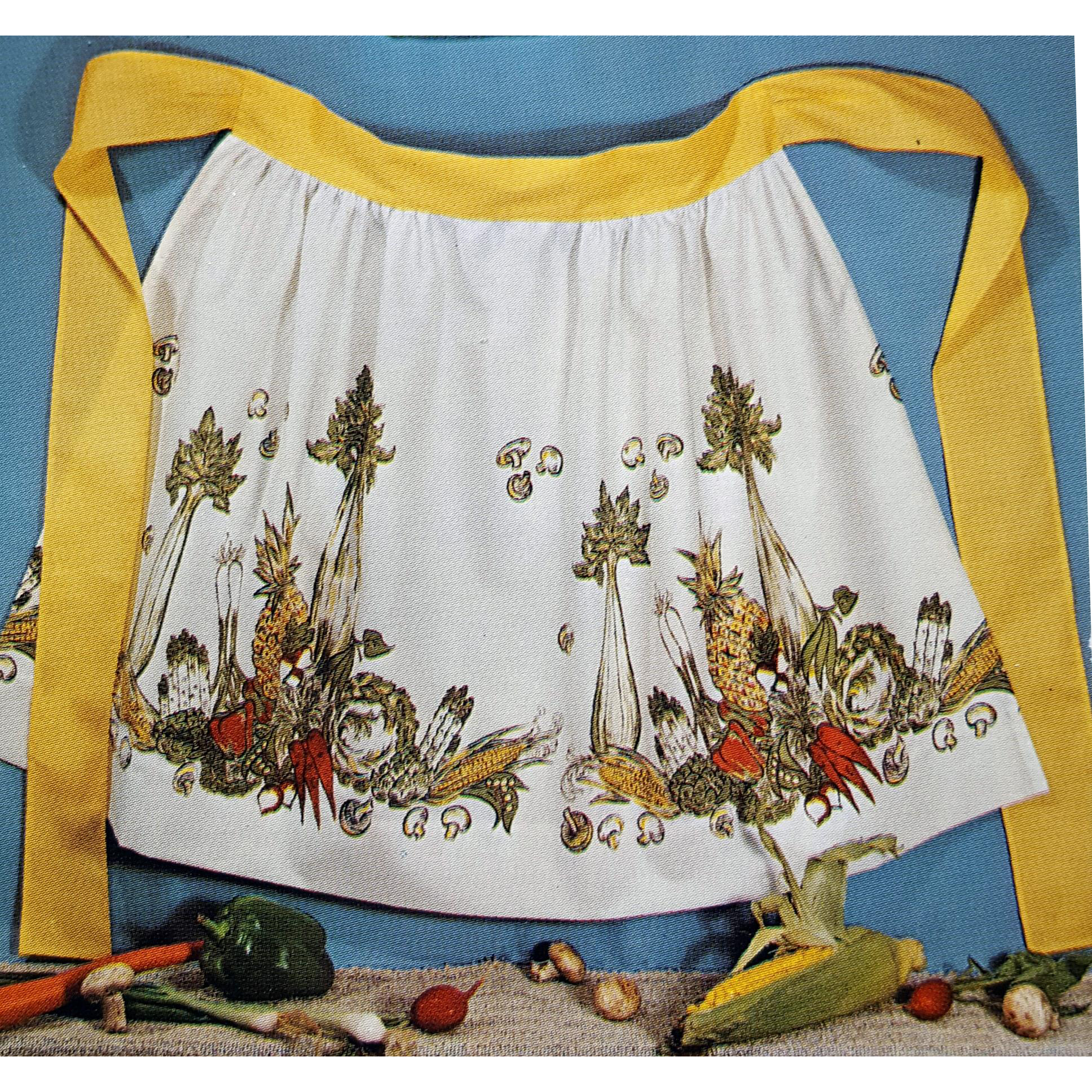Vintage Kit with Fabric and Pattern for Border Print Apron Mint