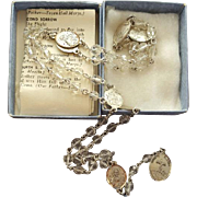 Vintage Sterling and Crystal Rosary of the Seven Sorrows of Mary MIB