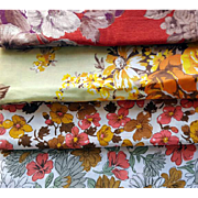 Vintage Fabric Lot Fall Colors 10 + Yards Sewing Material Cottons and Blends