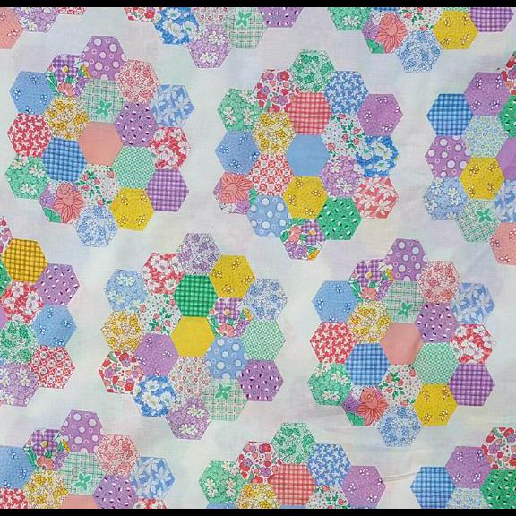 Vintage Grandmother's Flower Garden Cheater Quilt Fabric Mint
