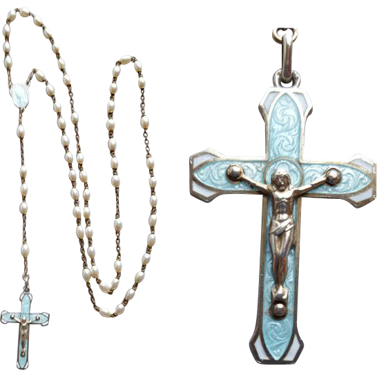 Lovely Vintage 1960s Faux Pearl Guilloche Enamel Rosary Mid Century