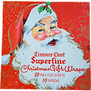 1960s Christmas Wrapping Paper Mid Century Santa Box MIB