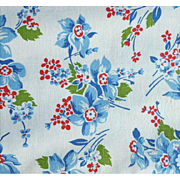 Beautiful Old Cotton Flour Sack 1930's - 1940s Blue Flowers on White Mint