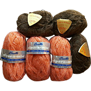 Vintage Alpaca and Alpaca Blend Yarn 6 Skeins Apricot and Brown Unused