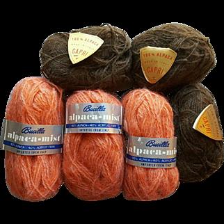 Vintage Alpaca and Alpaca Blend Yarn 6 Skeins Apricot and Brown Unused