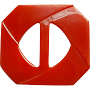 True Red Carved Bakelite Buckle / Belt Slide Large Size, Unusual Shape