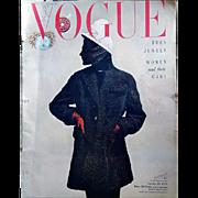 Amazing Vogue Magazine October 1949 Adrian Fashion Jewelry Advertising Original