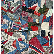 Rare Antique Cotton Crazy Quilt 1870 - 1890 Textile Art