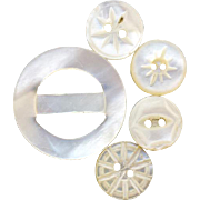 Doll Size Mother of Pearl Buttons and Belt Slide Tiny Sewing Notions