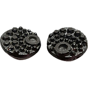 Antique Victorian Black Glass Buttons 2 Beauties