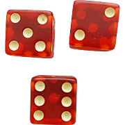 Vintage Transparent Red Bakelite Dice