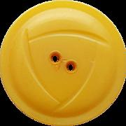 Vintage Golden Honey Carved Bakelite Button Large