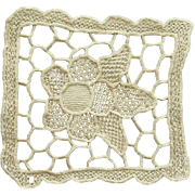 Antique Intricate Needle Lace Medallion in Ecru 1900