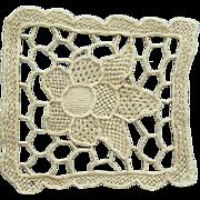Antique Intricate Needle Lace Medallion in Ecru 1900