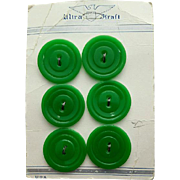 Six Candy Green 1940s Vintage Buttons MOC