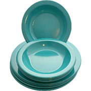 Vintage Dallas Ware Bowls and Plates Turquoise Mint