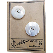 Vintage Carved Mother of Pearl Buttons Mint on Card
