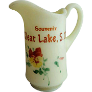 Antique Clear Lake South Dakota Souvenir Custard Glass Pitcher