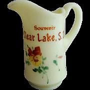 Antique Clear Lake South Dakota Souvenir Custard Glass Pitcher