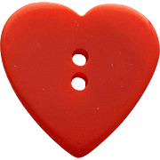 Vintage Bakelite Button Carved Red Heart Sewing Notion