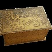 Antique Pyrography Jewelry Box Edwardian Art Nouveau