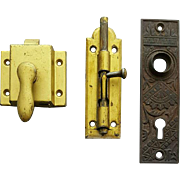 Antique and Vintage Hardware Cast Iron Door Plate Latches 3 Pieces