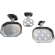 Set of Three 1920s Chrome Bathroom Accessories Soap Holder +