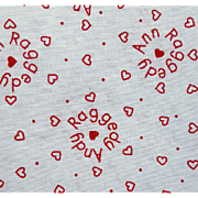 Vintage Raggedy Ann Cotton Sewing Fabric Hearts