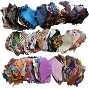 Antique Diamond Shaped Crazy Quilt Pieces 100s of Silks Rayons
