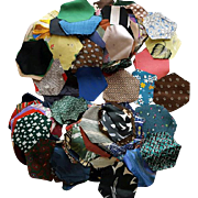 Antique Octagon Crazy Quilt Pieces 100s of Silks Rayons