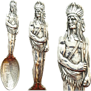 Heavy Sterling Silver Souvenir Spoon Native American Pike's Peak 1900