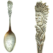 1900 Oklahoma City Souvenir Spoon Sterling Silver Native American