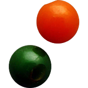 Two 1930s Vintage Bakelite Buttons Round Sphere Sew Through