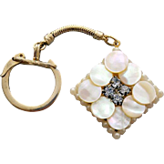 Vintage Vanity Key Ring Rhinestones and Mother Of Pearl