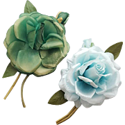 Two Vintage Silk Rose Corsage Pins Vanity Va Voom