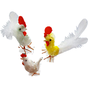 Vintage Chenille Easter Chickens Three Holiday Party Favors
