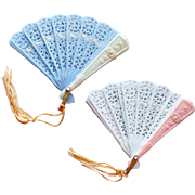 Two Miniature Doll Size Filigree Folding Hand Fans