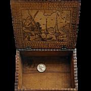Antique Pyrography Keepsake Box Dutch Windmill Village Ships