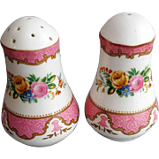 Vintage Porcelain Pink Gold Rose Salt and Pepper Set Tea Party Fancy