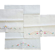 Sweet Trio of Linen Tea Towels with Embroidered Flowers