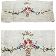 Special Antique White Linen Tea Towel Basket of Flowers Embroidery
