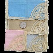 Four Linen Tea Party Napkins with Exquisite Lace Unused Mint