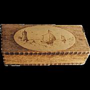 Antique Wood Pyrography Trinket Box Ships Lighthouse Dutch Windmill