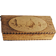 Antique Wood Pyrography Trinket Box Ships Lighthouse Dutch Windmill